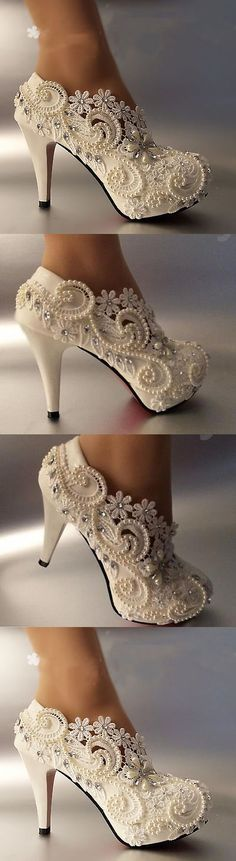 Wedding Shoes And Bridal Shoes: 3 4 Heel White Ivory Lace Crystal Pearls Wedding Shoes Pumps Bride S Bridal Shoes, Wedding Shoes, Wedding Dresses, Fancy Shoes, Me Too Shoes, Lace High Heels, Trendy Wedding, Wedding White, Dream Wedding