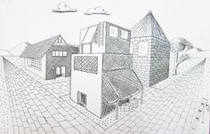 Upper School Art (Grades 7-12): Two point perspective building drawing HS Art