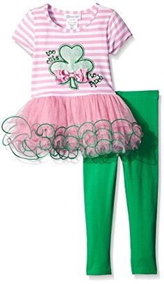 Bonnie Jean Girls Shamrock Appliqued Playwear Set Pink 2T >>> Click on the image for additional details.Note:It is affiliate link to Amazon.