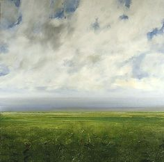 Landscape Oil Painting Original Modern Abstract Sky Cloud FIeld by J Shears
