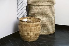 bathroom with woven baskets