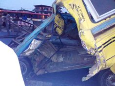 Several dead as trailer crushes commercial bus at Ketu,Lagos(Graphic Pictures)