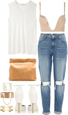"""Ripped Jeans w/ Givenchy Sandals & Marie Turnor Clutch."" by sarratori on Polyvore"