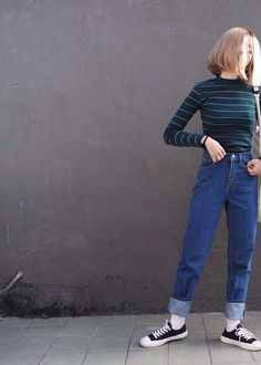 Very Cute Fall / Winter Outfit. This Would Look Good Paired With Any Shoes. - Street Fashion, Casual Style, Latest Fashion Trends - Street Style and Casual Fashion Trends 80s Fashion, Asian Fashion, Fashion Pants, Look Fashion, Fashion Outfits, Fashion Trends, Korean Fashion Tomboy, Blue Fashion, Fashion Vintage