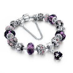 European Style Authentic Tibetan Silver Blue Crystal Charm Braceletas for Women Original DIY Jewelry Christmas Gift