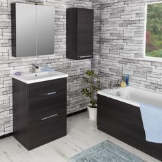 Vasari Black Oak Floorstanding Vanity Unit