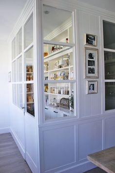 Beautiful pantry with interior windows. Business with Booths for Different People - great Idea - open doors, role out tables and your are open for business Kitchen Pantry Design, Kitchen Organization Pantry, Kitchen Storage, Pantry Ideas, Organized Pantry, Pantry Storage, Tiny Pantry, Casa Decor 2016, Interior Windows