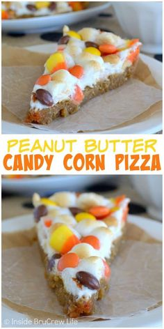 Peanut Butter Candy Corn Pizza - this easy cookie pizza is topped with melted marshmallows and lots of candy and peanuts. Make this easy recipe for fall parties! Halloween Desserts, Fall Desserts, Just Desserts, Delicious Desserts, Dessert Recipes, Halloween Treats, Easy Recipes For Desserts, Fall Treats, Fall Recipes