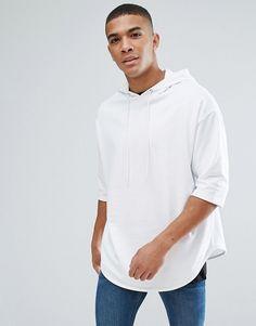 33ec5866f4 ASOS Oversized Longline Short Sleeve Hoodie - White Short Sleeve Hoodie