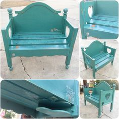 Farmhouse Bench done in distressed green & blue hues with hidden cubby & key hooks, sealed with a polyurethane finish for added durability💙💚 Farmhouse Bench, Shabby Chic Farmhouse, Farmhouse Furniture, Shabby Chic Furniture, Victorian Furniture, Furniture Vintage, Furniture Ideas, Twin Bed Bench, Upcycled Furniture
