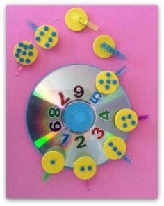 EL  BLOG DE SAMI . CD. CONTAR CON PUNTOS 1.J Montessori Math, Preschool Math, Class Activities, Kindergarten Activities, Cd Crafts, Crafts For Kids, Teaching Kids, Kids Learning, Visual Perceptual Activities