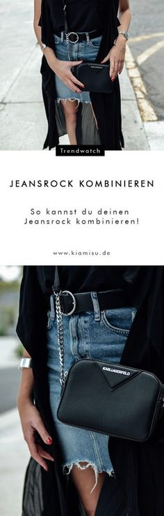 Styling-Tipp: So einfach kannst du einen Jeansrock kombinieren! Karl Lagerfeld Taschen, Jeans Rock, Trends, Skinny, Crop Tops, Overall, Elegant, Must Haves, Leather Skirt