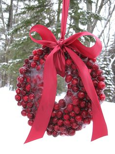Cranberry Ice Wreath Frozen cranberries make a beautiful ice wreath perfect to display for Valentines Day! The birds will love it too and the kids will really enjoy making it. The post Cranberry Ice Wreath was featured on Fun Family Crafts. Beautiful Christmas, Winter Christmas, All Things Christmas, Christmas Holidays, Christmas Wreaths, Christmas Crafts, Christmas Decorations, Holiday Decor, Southern Christmas