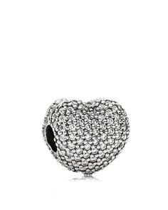 PANDORA Clip - Sterling Silver & Cubic Zirconia Pavé Open My Heart, Moments Collection   75