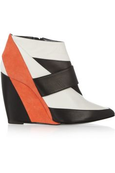 Pierre Hardy leather and suede wedge ankle boots #ShoeTime