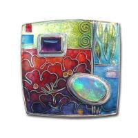 The pictured brooch is cloisonne enamel on fine silver, with a pear shaped crystal opal and a rectangular amethyst, set in a sterling silver frame x Jewelry Crafts, Jewelry Art, Bohemia Jewelry, Boot Jewelry, Vitreous Enamel, Enamel Jewelry, Ceramic Jewelry, Precious Metal Clay, Handmade Jewelry Designs