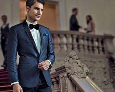 Midnight blue tuxedo. Men's formalwear.