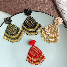 Ceramic Jewelry, Beadwork, Crochet Earrings, Ceramics, Etsy, Fringes, Ear Rings, Templates, Necklaces