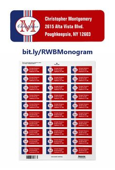 These colorful return address labels feature red, white, and blue stripes topped on the left with an oval containing a customizable name and initial. On the right are three lines of text that can be customized with your personal information. http://www.zazzle.com/monogrammed_red_white_and_blue_striped_label-106326559742873123?rf=238083504576446517&tc=pint082216 #graphicdesign #mail #supplies #monogram #stickers #DebiDalio