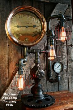 Steampunk Lamp, Steam Gauge Lighting #165