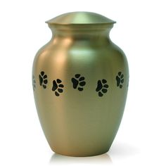 Path of Paw Prints Bronze Memorial Urn for Cat, Dog - Medium - Holds Up To 85 Cubic Inches of Ashes - Bronze Gold Pet Cremation Urn for Ashes - Engraving Sold Separately Pet Cremation Urns, Pet Urns, Medium Dogs, White Dogs, Pet Memorials, Some Ideas, Pearl White, Dog Cat, Bronze