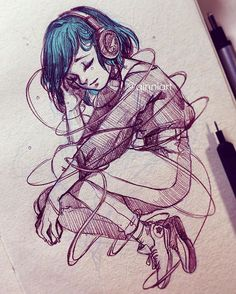 Trapped in the Music  • • • A quick messy 30minute sketch for an idea. I might do it on watercolor paper later and paint it someday  What kind of music do you guys listen to? I'm pretty much a Kpop fan now (including k-ballads and R&B) Used to be jpop back in the day (mflo was my main) but Kpop really nabbed me over the years. • • I'll have a video of this up tomorrow, or the day after. This one's reallll messy.