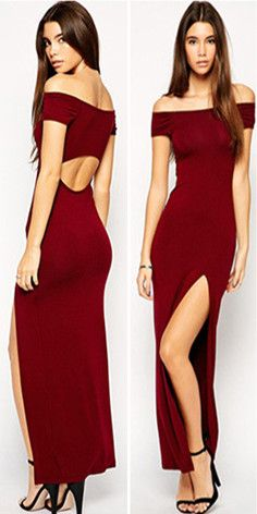 Sexy Slash Neck Off-shoulder Backless Slit Hem Party Dress  #backless #womenfashion #wedding