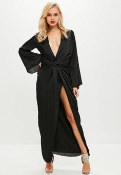 Black satin twist front midi dress