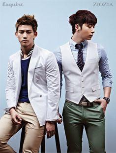 Taecyeon and Chan Sung - Esquire Magazine May Issue Kpop Fashion, Star Fashion, Fashion Hair, Male Fashion, Fashion Styles, Dapper Suits, Korean Boy Bands, Korean Actors, Sexy