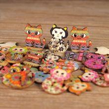 50 pcs Gato Bonito De Madeira Botões para Roupas 2 Furos Cores sortidas Botões de Costura Scrapbooking Artesanato DIY Acessórios de Vestuário(China (Mainland))
