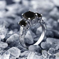 2.41 Ct Oval Natural Black Onyx 925 Silver 3-Stone Women's Ring Sizes 5 to 9