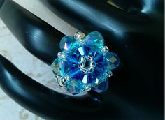 The Lily- Capri Blue and Sapphire Swarovski Crystal Flower Stretch Ring