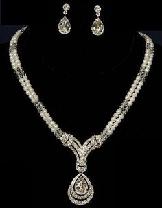 Silver White 2 Row Pearl Crystal Rhinestone Pendant Bridal Necklace Earring Set