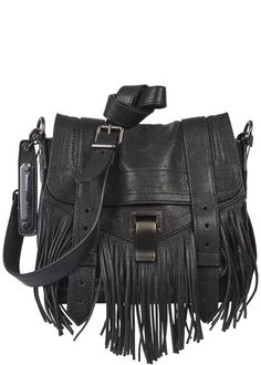 Proenza Schouler black leather cross-body bag  Detachable shoulder strap, fringed, designer stamped hanging tag, zip fastening back pocket, concealed front patch pocket, internal zip fastening pocket, printed lining  Clasp and slip tab fastenings at flap front  Comes with a dust bag