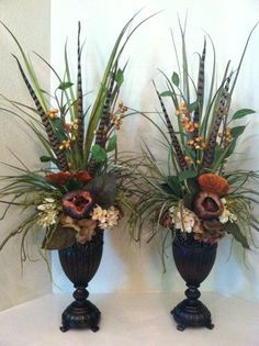 PAIR of Elegant Faux Floral Arrangements for the mantel - Berry & Pod Silk Floral Arrangement - Tall Arrangement by Greatwood Floral Designs. Fall Floral Arrangements, Dried Flower Arrangements, Floral Centerpieces, Fall Planters, Church Flowers, Faux Flowers, Flowers Vase, Decoration Table, Flower Decorations