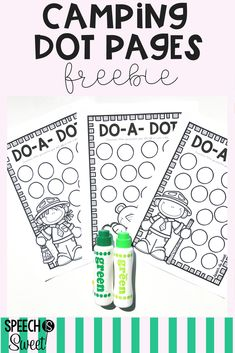 Free camping dot pages! Your speech therapy students will love these fun sheets! They're open-ended so they can be used to address articulation, language, grammar, fluency/stuttering, and more! These are great for a camping theme, year round, or summer speech therapy!