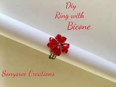 Diy Beaded Heart ❤️ Ring with Bicone   _ Day 1 of 5 Day Marathon of Ring - YouTube