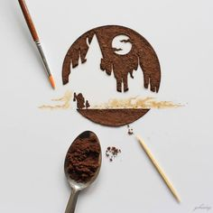 Indonesian artist paints a coffee on the foliage paintings amazing