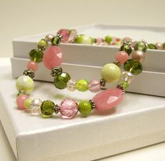 Pink and green mixed bead necklace set by beadstreetgallery