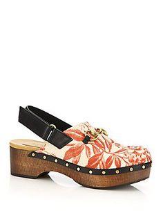 8e0d77e01b1 Gucci Amstel Floral-Print Clogs Floral Print Shoes