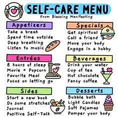 What a great menu with some great ideas to remind you to take care of your self! Sleep Drink, Self Care Activities, Crps, Self Compassion, Self Care Routine, Coping Skills, Happy People, Positive Affirmations, Quotes Positive