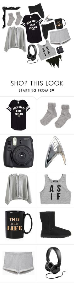 """""""I've come undone. But you make sense of who I am. Like puzzle pieces in your hand. // Sleepwear 1 // James T Kirk // Star Trek // The Reboot"""" by saffire9975 ❤ liked on Polyvore featuring Fuji, WithChic, Dimepiece, Kate Spade, UGG, rag & bone/JEAN and Polaroid"""