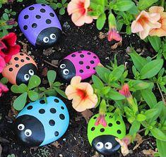 manualidades infantiles de primavera pintar piedras