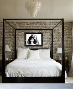 Get rid of the picture & it's gorgeous. <3 Maybe a cool big mirror....or just the gorgeous brick.