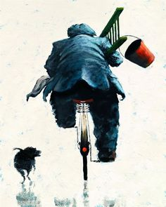 When I'm Cleaning Windows - by Alexander Millar Paintings I Love, Original Paintings, Bicycle Illustration, Art Of Beauty, Bicycle Art, Cycling Art, Window Cleaner, Figurative Art, Contemporary Artists