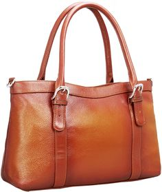 """Iswee Women's Leather Shoulder Bag Satchel Handbags and Purse Classic Design Tote for Ladies (Sorrel). Material: Top layer cowhide leather. Which is the best part of leather. Hardware: Ingot silver hardware. Smooth zipper. Textured silver ring. Size:(L) 15.35 x (H) 9.45 x (W) 5.12"""" in,The weight is about 2.64 pounds. Strap: Come with 2 removable and adjustable leather top handle straps for using the bag as tote and shoulder bag. 1 Long shoulder strap for crossing body (39.37~53.15' in)...."""