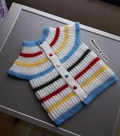 salanik-renkli-farkli-robali-bebek-yelek salanik-color-different-the-Baby-Jacke Robalmar Thessaloniki, Baby Knitting Patterns, Knitting Designs, Warm Outfits, Trendy Outfits, Preppy Trends, Pull Bebe, Moda Outfits, Baby Pullover
