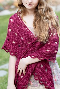Free Knitting Pattern for Xcellent Shawl - Crescent shaped shawl with Indian Cross stitch and looped hem. Worsted weight. Designed by Margaret Holzmann. 3 sizes