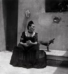 """Frida Kahlo and her Chihuahua photograph, Image Credit: """"Frida Kahlo,"""" Lola Álvarez Bravo, ca. 1944 ©Frida Kahlo Museum"""