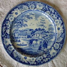Antique English Georgian Blue And White Transfer Native Pattern Pottery Plate 6 Of 6 William Adams of Tunstall and Stoke, Staffordshire (1769-), 2 dismounted women talking to a kneeling fisherman beside 2 horses   186128   Sellingantiques.co.uk